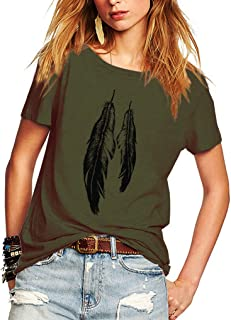 Womens Street Style Feather Pattern T-Shirts Casual Loose Top Tee Shirts