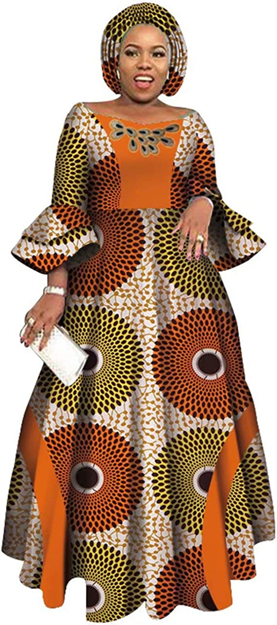 iooiooi Womens African Party Maxi Dress Double Layered Bell Sleeve Long Dress & Headwrap