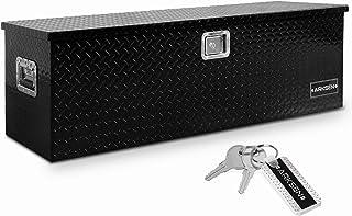 Arksen 49 Inch Aluminum Utility Tool Box Diamond Plate Chest Box Truck Bed Trailer Storage Organizer, Black