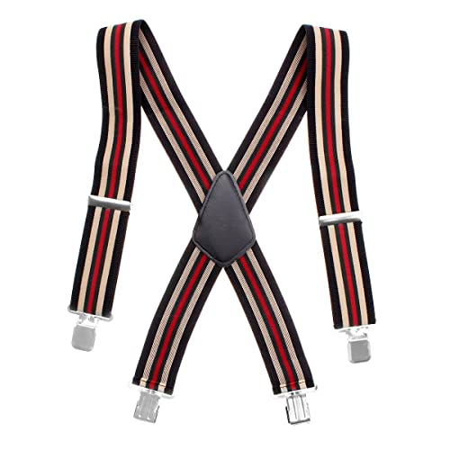 03851ac051e Mens X Shape Adjustable and Elastic Suspenders Heavy Duty 50MM Wide One Size