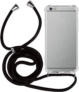 MyGadget Funda Transparente con Cordón para Apple iPhone 6 Plus / 6s Plus - Carcasa Cuerda y Esquinas Reforzadas en Silicona TPU - Case y Correa - Negro