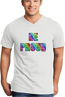 Be Proud Gay Pride - Rainbow Hearts Adult V-Neck T-Shirt
