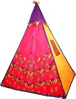 Teepee tält för barn – hopfällbart lektält för barn, naturlig bomullsduk barn indiskt tipi-tält, inomhus och utomhus, bärb...