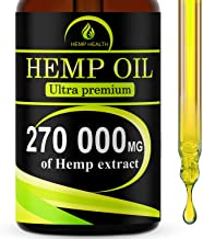 Hemp Oil Drops, 270 000 mg, Natural CO2 Extracted, 100% Organic, Pain, Stress, Anxiety Relief, Reduce Insomnia, Vegan Friendly, Zero CBD, Zero THC