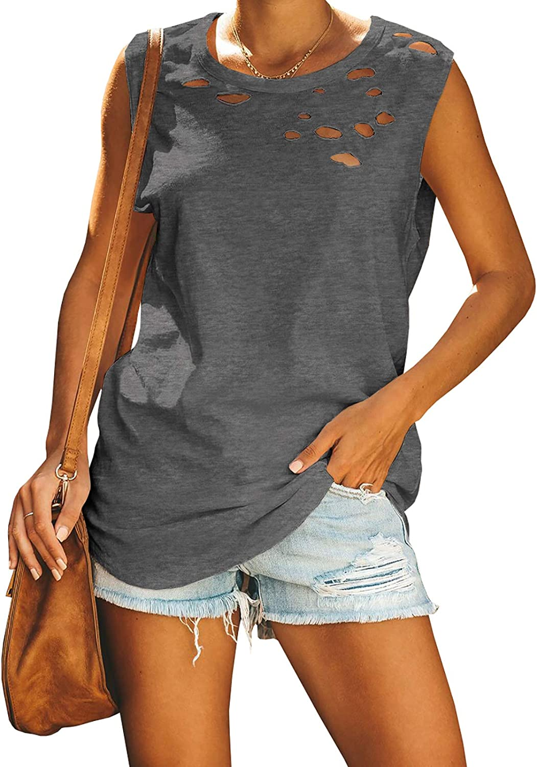 Jeanewpole1 Womens Ripped Casual Tank Tops Sleeveless Crew Neck Loose Summer Shirts Blouses