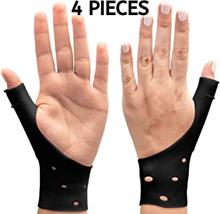 DropSky [4pcs] Gel Wrist Thumb Support Braces Soft Waterproof Breathable, Relief Pain Carpal Tunnel, Arthritis Thumb, Fits Both Hands, Lightweight, Therapy Elastic Silicone, Stabilizer Support [Black]