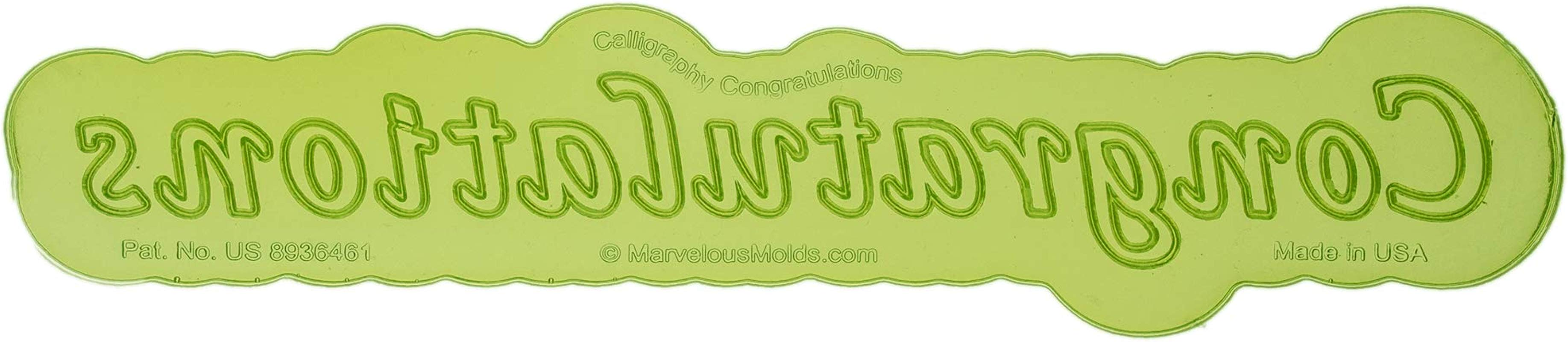 Calligraphy Congratulations Flexabet Silicone Phrase Maker For Cakes By Marvelous Molds