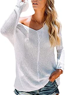 Women's Casual V Neck Baggy Pullover Sweater Knitted Jumper Tops