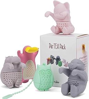 ParTea Pack con infusor de té de hojas sueltas, Get The Hippo, Platypus, Búho, Kit-Tea y Nutria, todo en un solo paquete en una bonita caja de regalo, multicolor