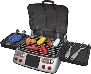 Pretend Play BBQ Grill for Kids with Lights, Sizzling Sounds and Smoke - 19 Piece Playset Includes Charcoal, Food, Tongs, Forks and Plates - Toy Barbecue Set Steams Just Like You're Really Grilling