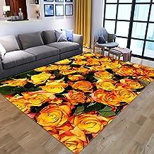 LHGBGBLN 3D Printing Carpet Yellow Rose Bedroom Living Room Anti-Slip Mat Corridor Floor Mat Door Mat Flower Carpet Home D...