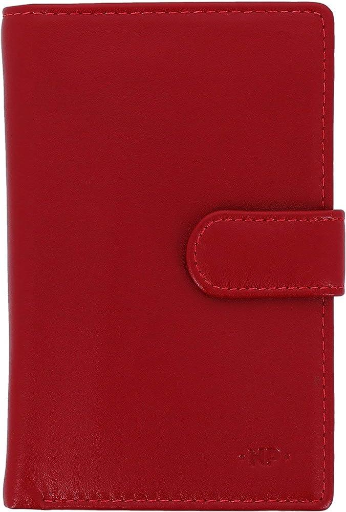Nuvola pelle, portafoglio per donna, porta carte di credito grande, in vera pelle, rosso 8031847166446