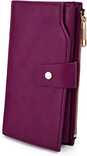 UTO Women's RFID Blocking PU Leather Long Wallet Clutch 21 Card Slots Holder Organizer Ladies Purse with Wristband Large Capacity Inner Pocket Fits 5.5'' Cellphones Purple