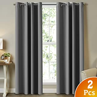 Blackout Curtains Panels for Bedroom - Three Pass Microfiber Noise Reducing Thermal Insulated Solid Ring Top Blackout Window Curtains/Drapes 2 Panels, 52 by 84 Inch, Grey