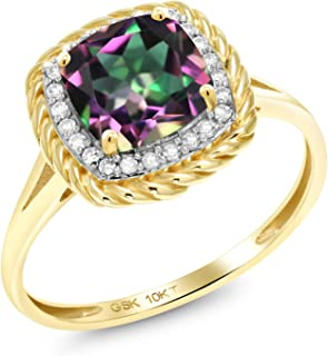 Gem Stone King 10K Yellow Gold Green Mystic Topaz and White Diamond Women's Ring (1.87 Ct Cushion Cut Available 5,6,7,8,9)