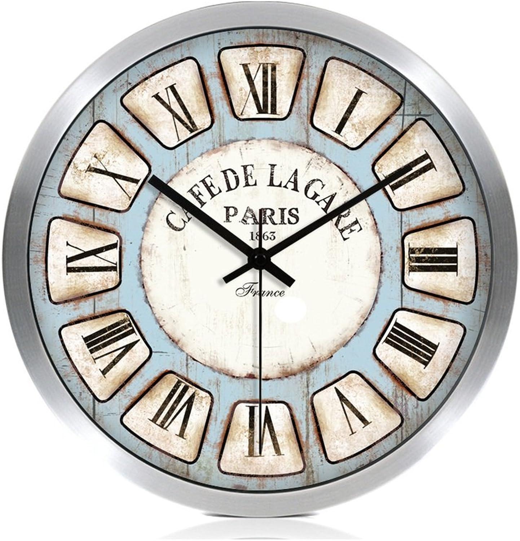 ZWD Bar Reloj de Parojo silencioso, Dormitorio Estudio Sala de Estar El Centro Comercial Tienda de té Librería Papelería Tienda Hotel Cibercafés Reloj de Parojo Reloj de Parojo de Metal 30-40 CM Decorar