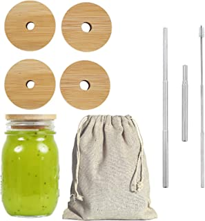 Mason Jar Lids with Straw Hole Kits, Reusable Bamboo Mason Jar Lids for Regular Mouth Mason Jar with 2 Reusable Stainless ...