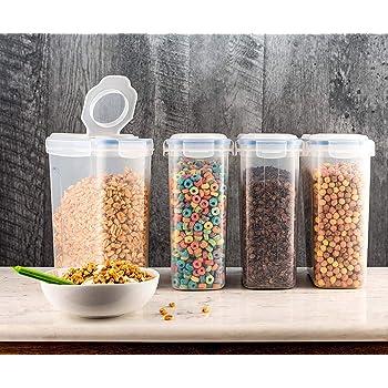 Cocina Herm/ético Conservaci/ón Alimentos Contenedores,4L Cereales Contenedores,Dispensador Cereales,Pl/ástico Snacks Az/úcar Almacenaje Papeleras Organizador,Pantry Ahorro de Espacio Botes Botes,Nueces