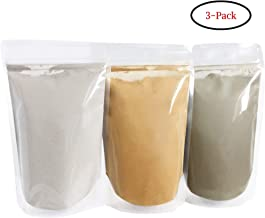 Bentonite (Indian Healing), Moroccan (Red Rhassoul), and Green (French-Sea) Clay Powder - 3 multipak/set for making mud masks for skin, hair, face and body by Bare Essentials Living