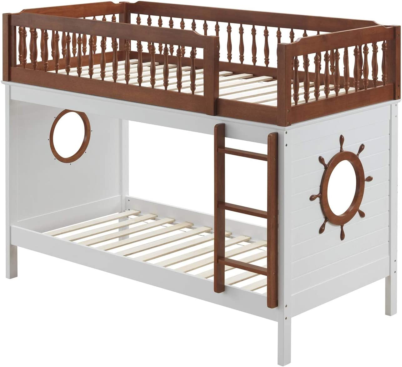 Amazon Com Ship Shape Bunk Bed Twin Over Twin Bunk Beds Frame Wood With Fixed Front Ladder Guard Rail Top Bed And Decorative Turned Spindles Ship Wheel Design Oak And White Us Stocks Furniture