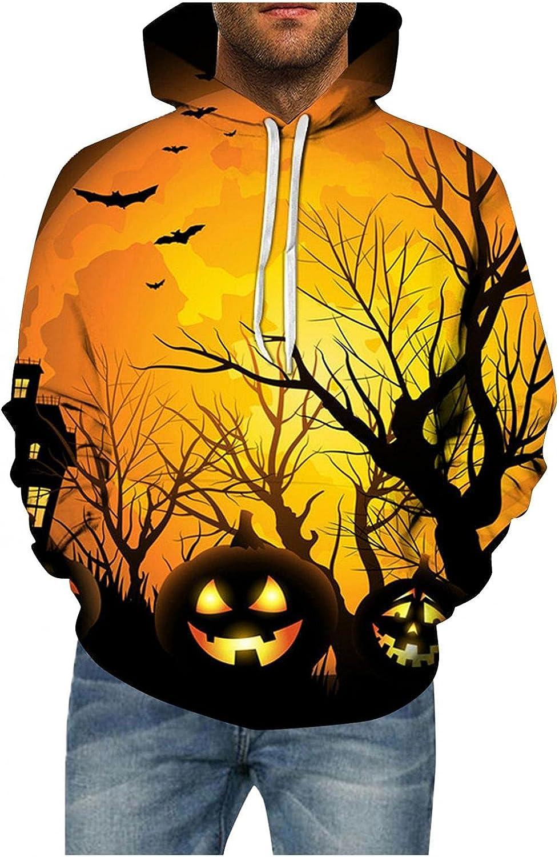 WUAI Halloween Christmas Unisex Hooded Sweatshirts Funny Pumpkin Skull Graphic Printed Colorful Pullover Jumper Tops