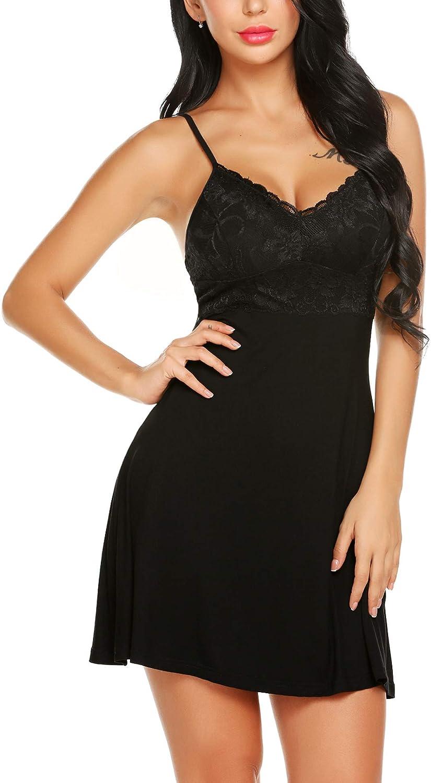 Pintimi Women Lingerie Lace Babydoll Sexy Chemise Nightgown Nightie V Neck Sleepwear Slip Dress