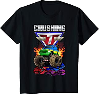Enfant Monster Trucks Crushing 7 Boys 7th Birthday Seventh Year Old T-Shirt