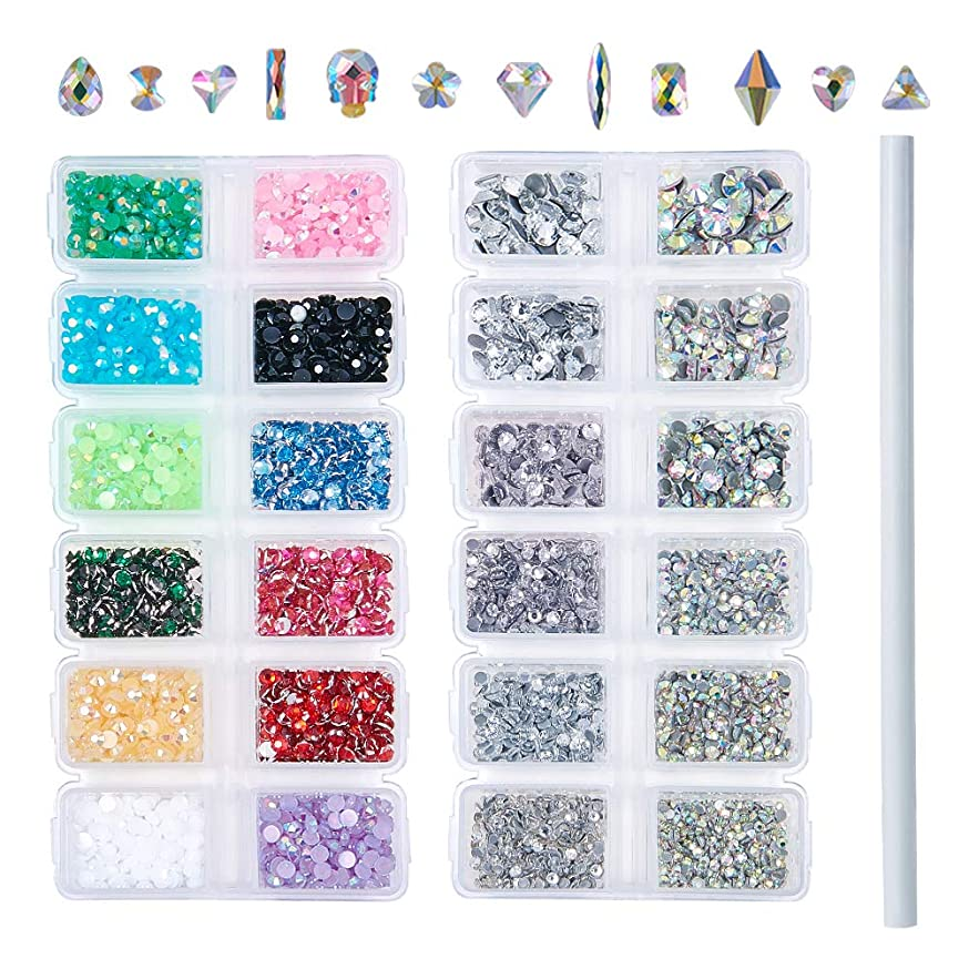 Outuxed 3196pcs AB Crystal Flatback Rhinestones Mixed Size and Shapes 3D Nail Art Rhinestones Glass Charms Gems Stones with 1 Picking Pen for Crafts
