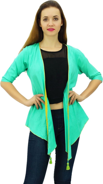 Phagun Women Solid Casual 3/4 Sleeve Aqua Green Shrug Coverup Rayon Cardigan-XX-Large