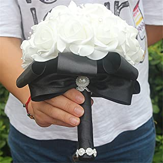 FYSTORE Wedding Bouquet Crystal Pearl Silk PE Roses Bridal Bridesmaid Wedding Hand Bouquet Artificial Fake Flowers ((Black)