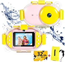 Kids Underwater Camera,ROTEK Dual 8MP 1080P Super HD Waterproof Digtial Camera with 2.4inch IPS Screen 32G Memory Rechargeable Front and Rear Selfie Video Camera for Children,Boys,Girls,Swimming(Pink)