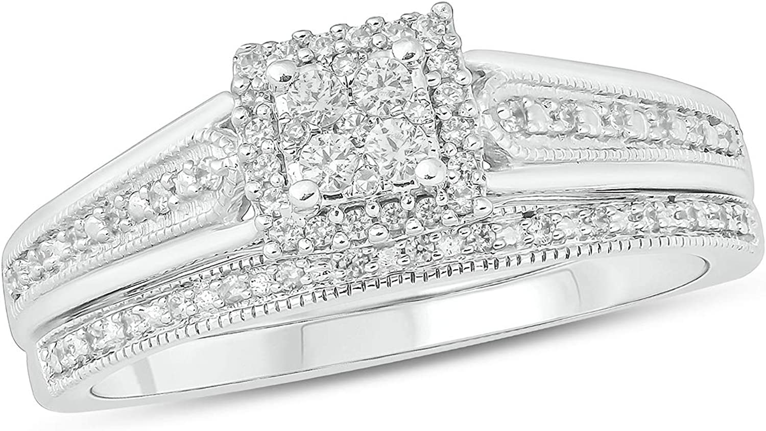 Cali Trove Sterling Direct store Silver 1 5ct Wed White sale Natural Diamond Round