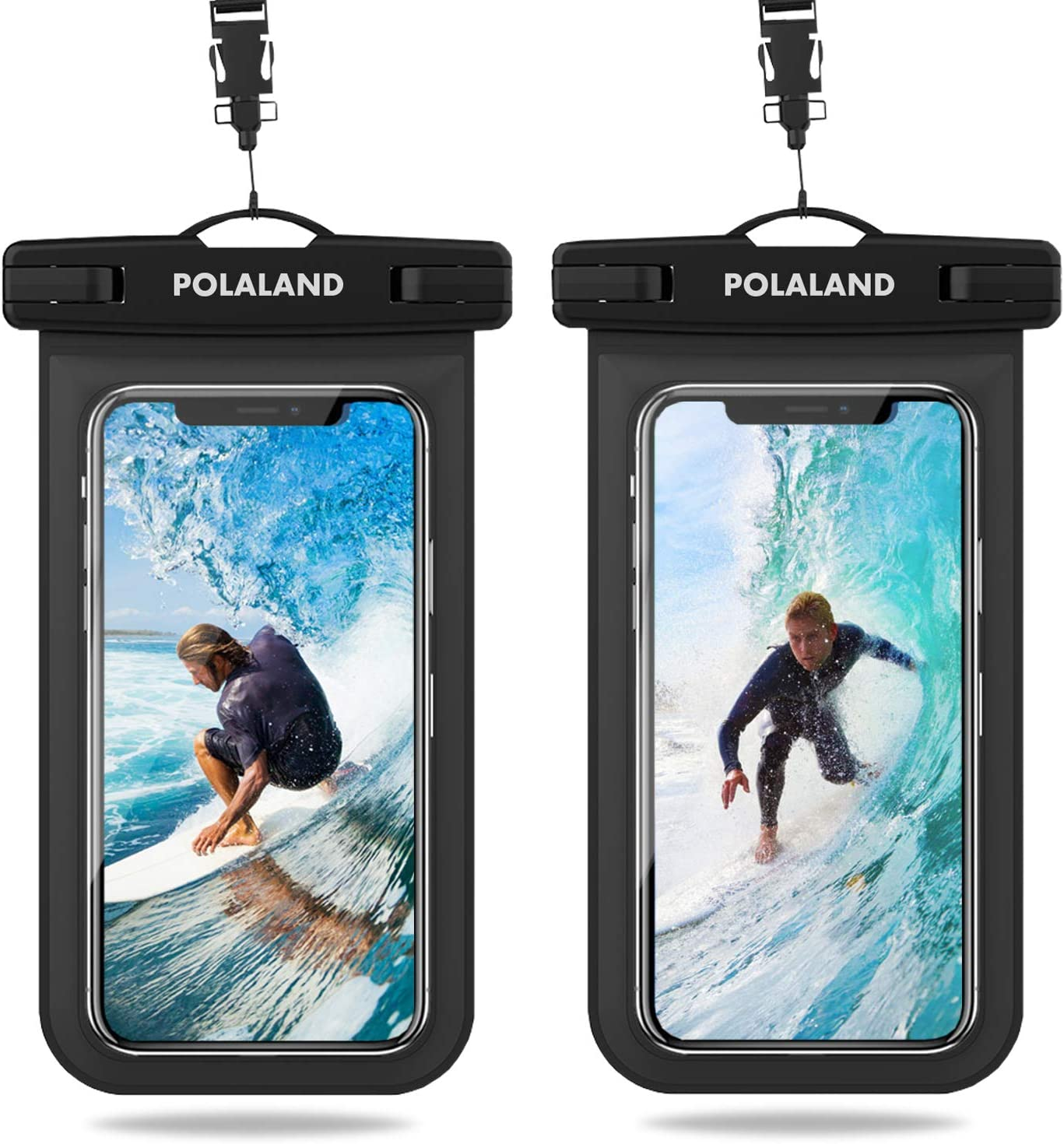 Polaland Waterproof Phone Pouch, Universal Cell Phone Dry Bag Underwater Case Compatible for iPhone 12 Pro 11 Xs Max SE 2020 XR X 8 Plus 7 6S, Galaxy S20+, S10+, Note 10+ up to 6.9