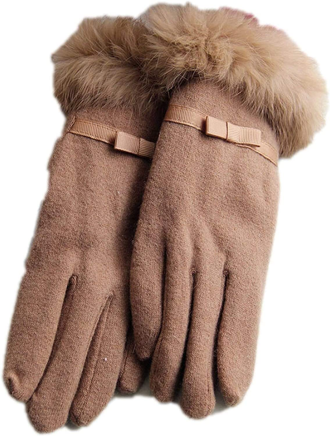 Samantha Warm Gloves Female Touch Screen Gloves Winter Women Double Thick Warm Cashmere Full Finger Rabbit Hair Bow Driving Gloves (Color : Light Tan, Size : Oneszie)