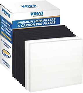 VEVA 2 Premium HEPA Filter Including 8 Carbon Pre Filters Compatible with AP-1512HH 3304899 CW Air Purifier Advanced Filters