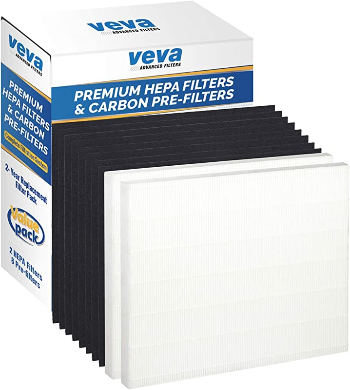 VEVA 2 Premium HEPA Filter Including 8 Carbon Pre Filters Compatible With AP 1512HH 3304899 CW Air Purifier Advanced Filters