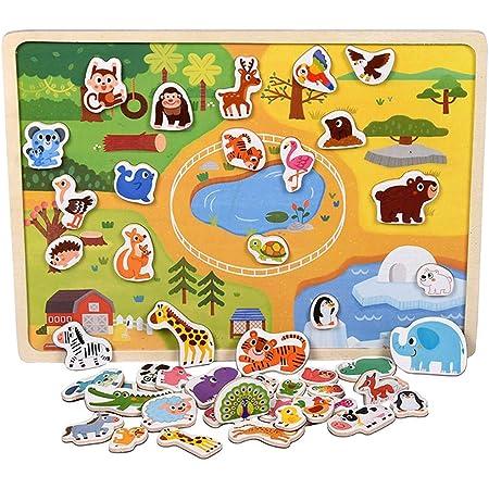 CORPER TOYS マグネットおもちゃ 動物 マグネットシール 動物シール 動物おもちゃ 木製パズル コーディネート 磁気パズル 木製おもちゃ ボード 男の子 女の子 動物園 カラフル クリスマス