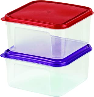 DecorRack Pack of 2 Large 2 Liter Square Food Storage Containers with Lids -BPA FREE- Plastic Bento Box Multiuse Hot and Cold Food Leftover Storage Freezer Safe Container Set of 2 Lunch Boxes, Random