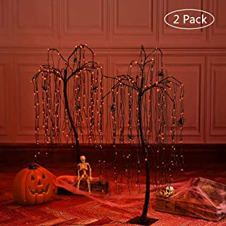 LIGHTSHARE 4 Feet Halloween Willow Tree, 160 LED Lights,Pack of 2,with 8 Spiders,for Home, Festival, Party, and Christmas Decoration,Nativity,Indoor and Outdoor Use,Orange
