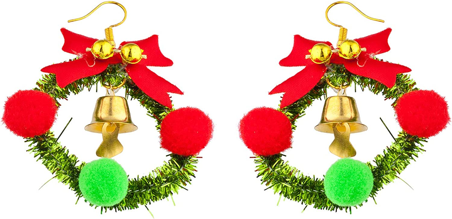 Lux Accessories Gold Tone Christmas Wreath Bell Ribbon Bow Cotton Balls Earring