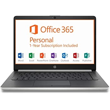 "HP 14"" HD Intel N4000 2.6GHz 4GB RAM 64GB eMMC Webcam Windows 10 Laptop + 1 Year Microsoft Office, Silver, 14-14.99 inches (7MP91UA)"