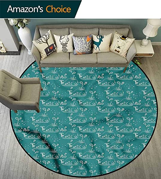 RUGSMAT Whale Art Deco Pattern Non Slip Washable Round Area Rug Marine Animal Sketch Pattern Floor Seat Pad Home Decorative Indoor Diameter 71