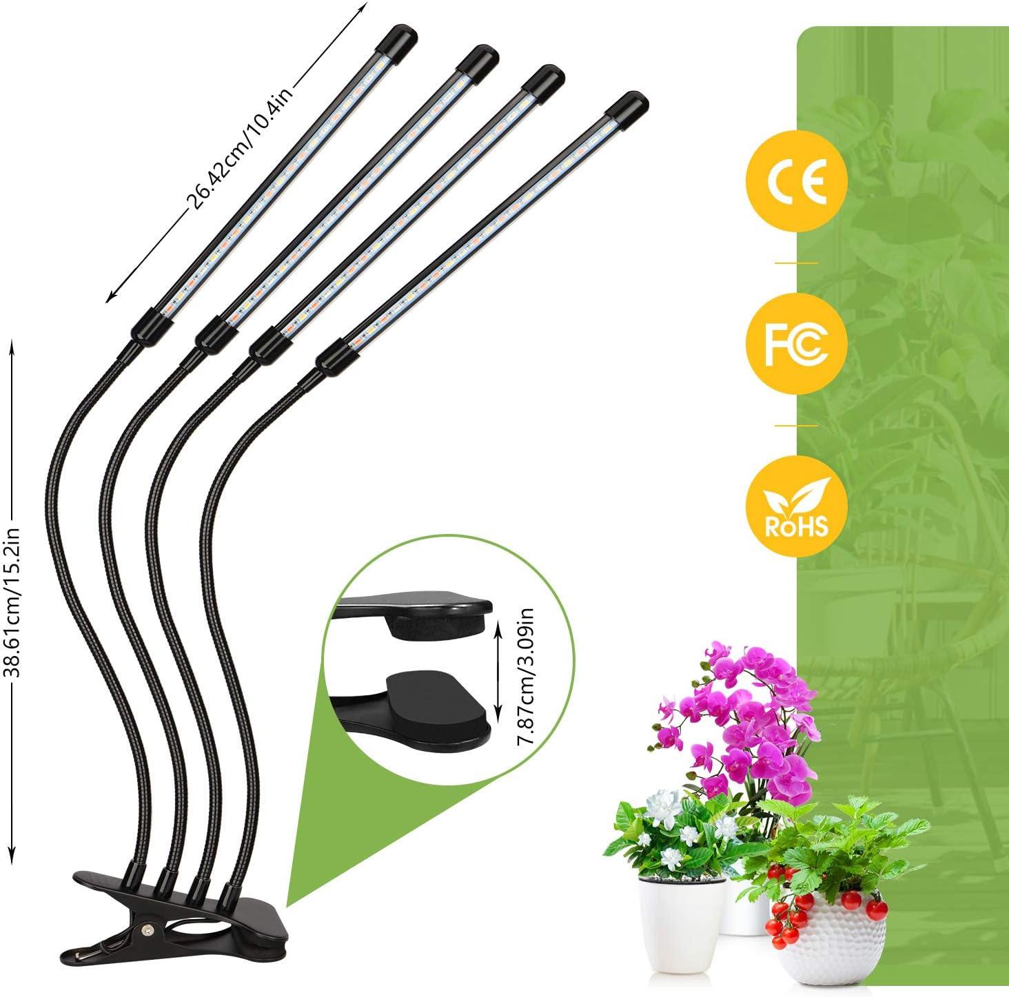 9H ON//OFF 3H 12H 80W Lampe Horticole 4 T/êtes Grow Light /à 360/° /Éclairage Horticole 10 Luminosit/és 3 Modes Lampe Plante Spectre Complet Avec Chronom/étrage AUTO