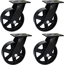 5 Inch Caster Wheels- Swivel Casters Heavy Duty Industrial 5 Inch Casters - Vintage Casters Set of 4, Metal Casters Iron Wheels