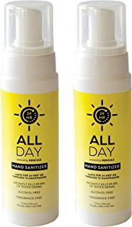 All Day Long-Lasting Foam Hand Sanitizer - Lasts for 24 hours | Hypoallergenic, Fragrance-Free, Alcohol-Free, Non-Toxic | Kills 99.99% of Germs (1.7oz - 2pack)