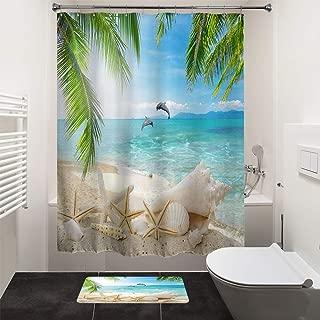 HIYOO Bathroom Decorative Polyester Fabric Waterproof Shower Curtain, Tropical Ocean Seashore Beach PalmsTrees Starfish SeashellDolphin Theme Design, High-Definition Image, with Hooks 60