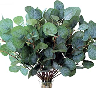 Faux Eucalyptus Leaves Artificial Greenery Stems Fake Silk Floral 3 Pick with 9 Green Branches Each for Full Vase Flower A...