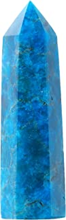 """Runyangshi Blue Apatite Natural Crystal Healing Wands, 2.8""""-3.1"""" (7-8cm) Single Point Healing Crystal Wand 6 Faceted Reiki..."""
