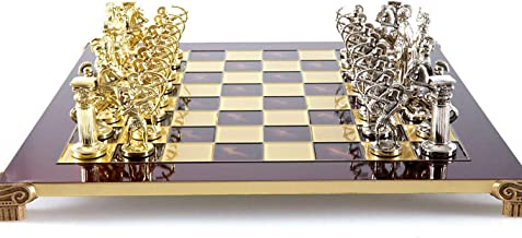 Manopoulos Archers Large Chess Set - Brass&Nickel - Red Chess Board