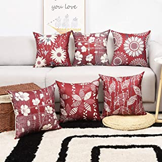 Master Pillowcase Modern Geometric Flower Printing Durable Cotton Linen Decorative Throw Pillow Cover Wine Square Cushion Case for Couch Home 18 x 18 Inch Set of 6 Burgundy and Grey